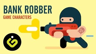 How to draw Game Character, Bank Robber, Speed Drawing Adobe Illustrator Tutorial