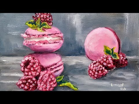 Raspberry & Mint Macarons // Real Time Oil Painting Tutorial