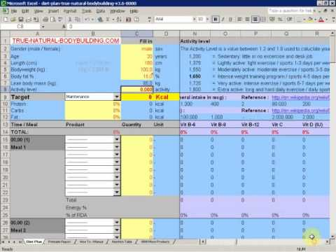 also how to make  diet plan with excel demo video part youtube rh