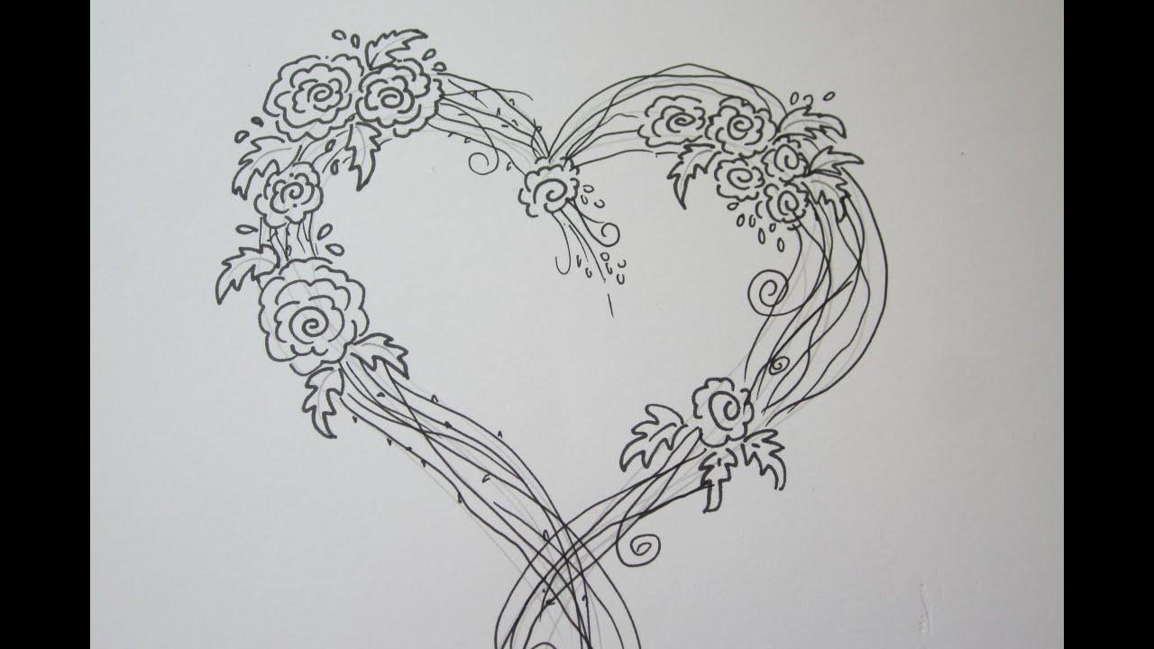 Amazing easy rose drawing with a heart drawing tutorial youtube izmirmasajfo