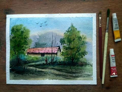 Simple Village House Landscape Painting