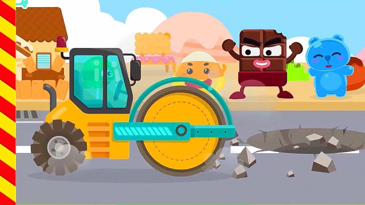 Каток ремонтирует дорогу. Ребята помогают катку быстро справится с заданием. Мультик про спецтехнику