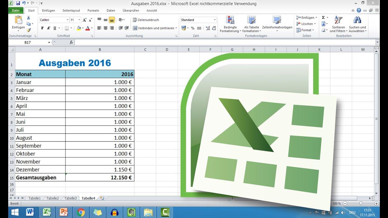 Tabelle In Excel Erstellen - Grundkurs Excel