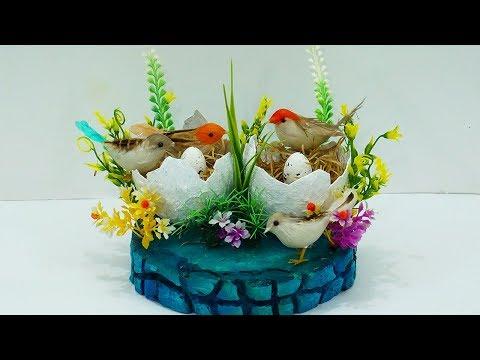 How to Make Birds Nest Craft Using Balloon & Newspaper | DIY Birds Nest Home Décor Craft