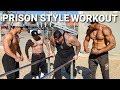"PRISON STYLE WORKOUT WITH - 6'9""ft TALL - MONSTER - AT MUSCLE BEACH"