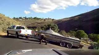 Cops get boat and trailer stuck