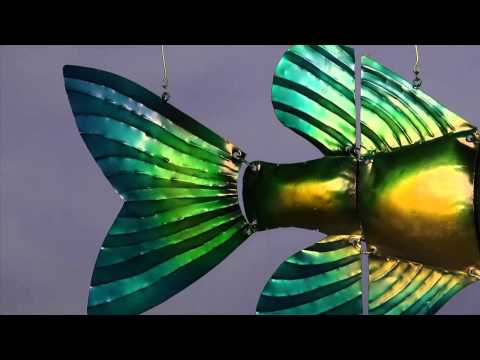 Handmade Recycled Metal Tropical Fish Mobile Art-Wind & Weather