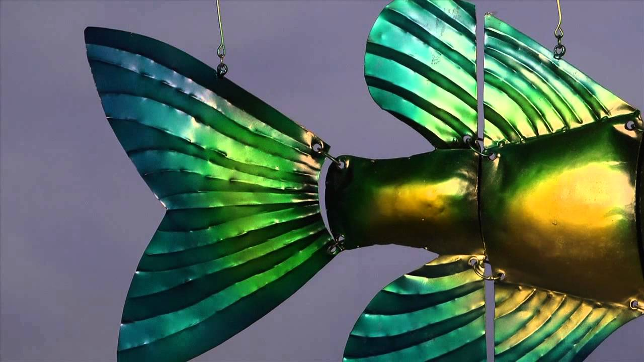 Handmade Recycled Metal Tropical Fish Mobile Art Wind