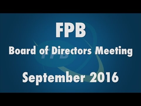 FPB Board of Directors Meeting September 2016