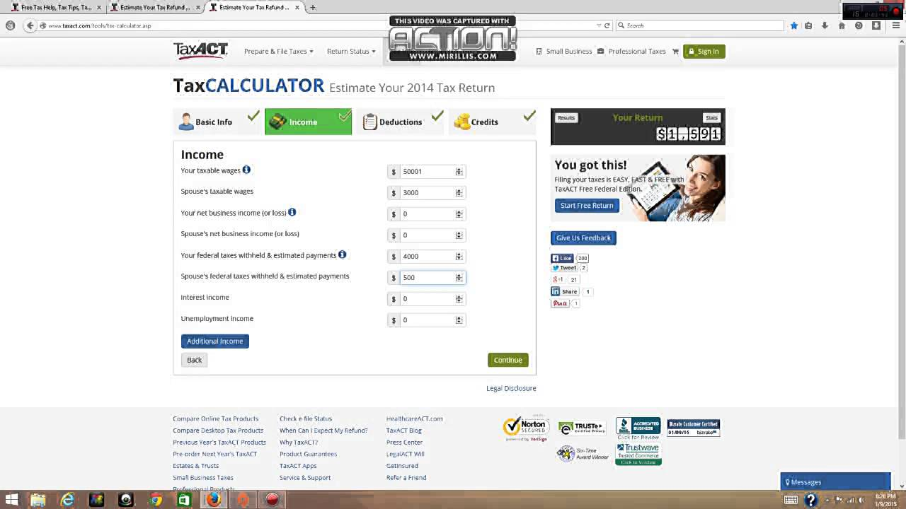 tax return estimator