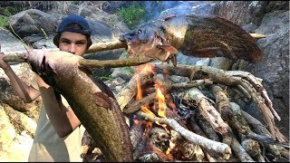 Primitive SPEAR hunting FISH - Catch and Cook! (SPEARFISHING)