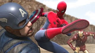 Civil War - Iron Man vs Captain America -  Part1 (FIGHT SCENE) feat new Spiderman