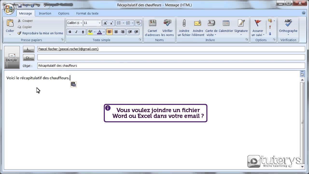 comment ins u00e9rer une pi u00e8ce jointe dans un email avec outlook 2007