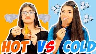 EATING ONLY HOT vs COLD FOOD FOR 24 HOURS Challenge Ft. Samreen Ali | Mahjabeen Ali