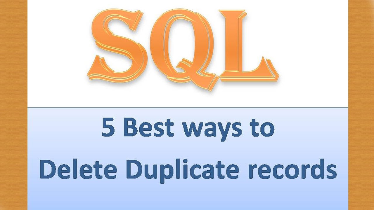 How to Delete Duplicate records(rows) in SQL Server