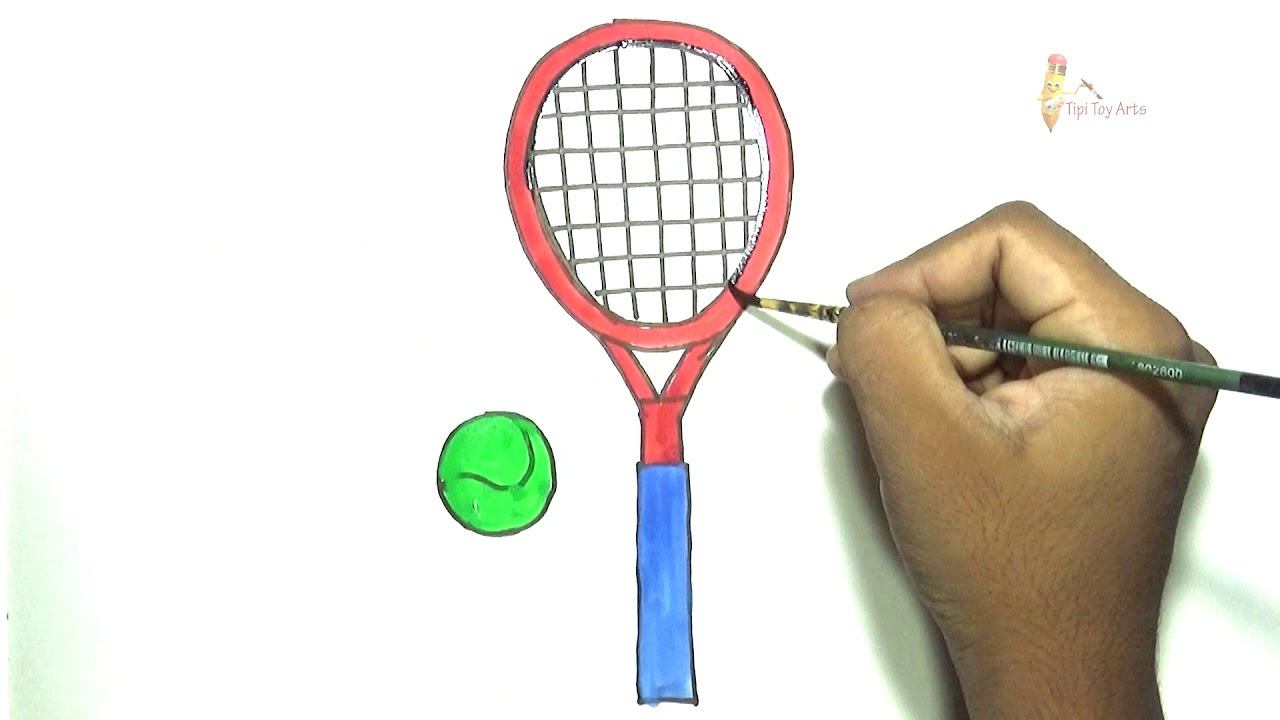 How to Draw Tennis Racket & Ball Step by Step Coloring for kids  @tipitoyarts - YouTube