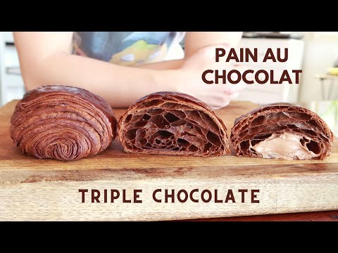 Pain au chocolat - Chocolate dough, chocolate butter and chocolate filling!