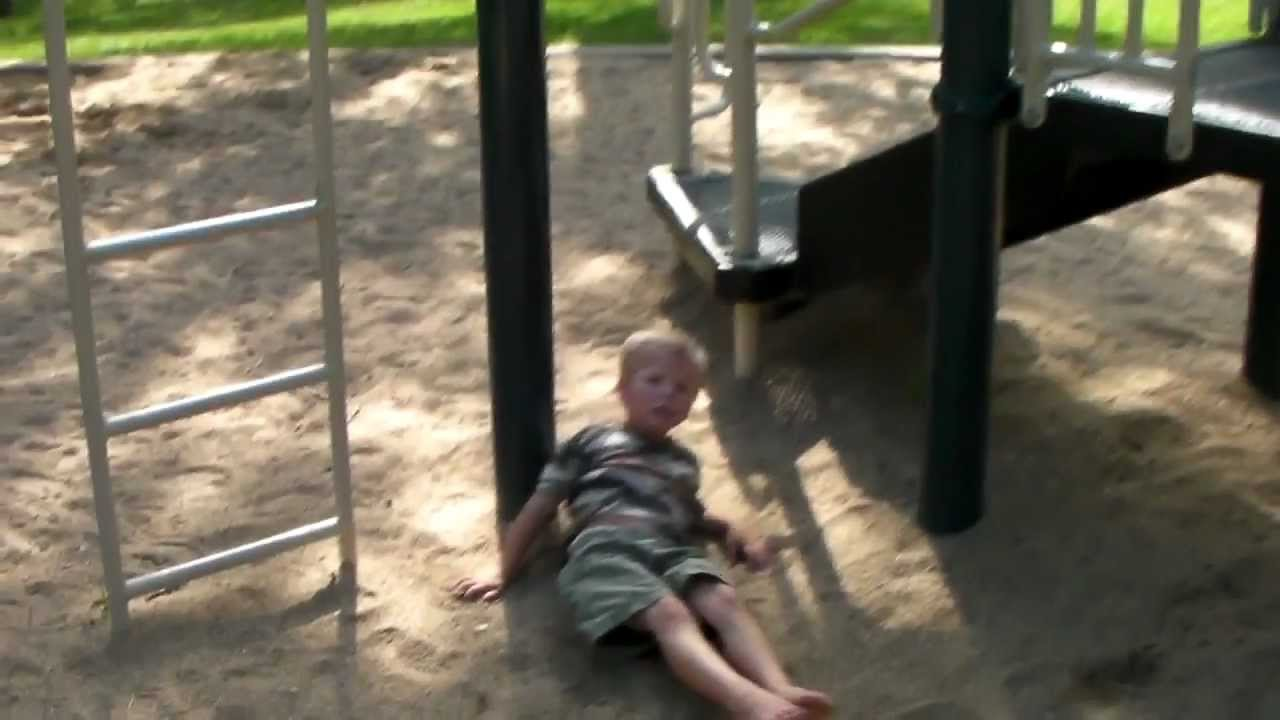 Hilarious Toddler Falls Off Monkey Bars Then Explains