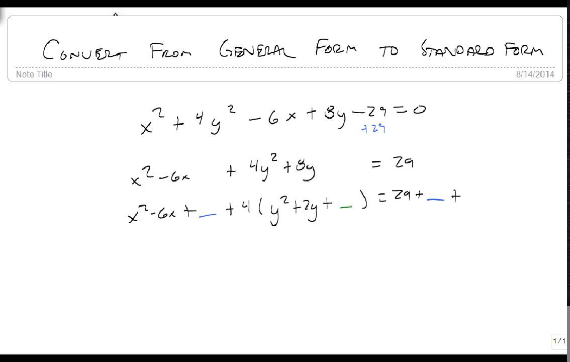 Convert from general form to standard form of an ellipse - YouTube