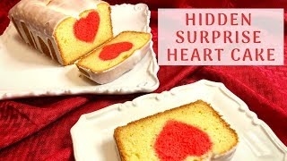 Surprise hidden HEART cake for the Valentine&#39s Day!  Vanilla cake with a Lemon glaze