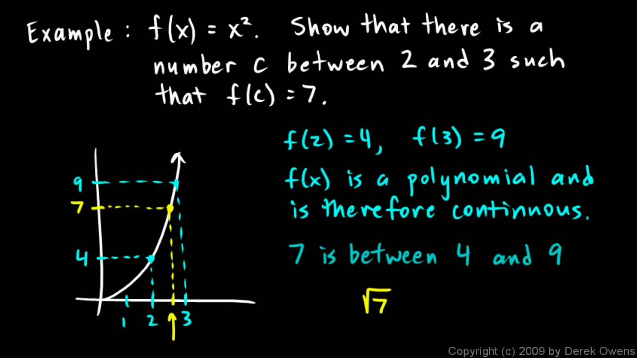 Calculus 27a The Intermediate Value Theorem Youtube