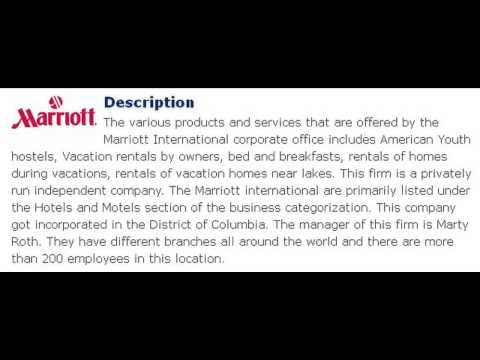 Marriott International Inc­ Corporate Office Contact Information