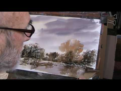 How to paint an autumn sketch with watercolour