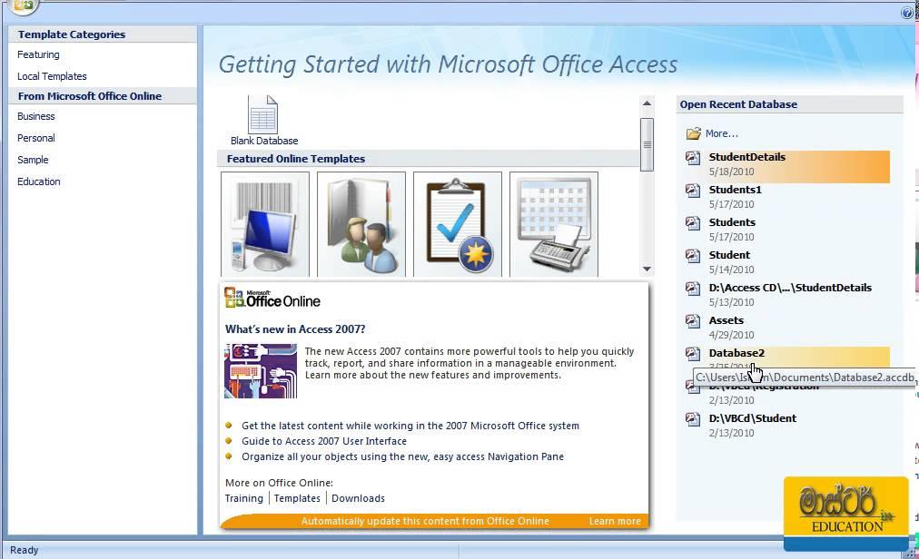 Microsoft Access Sinhala Tutorial 01 - Using Start up Window - YouTube