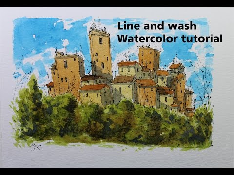 Line and wash building Watercolor tutorial Simple and Easy.By Nil Rocha