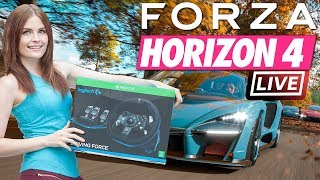 Forza Horizon 4 pre-release stream. FULL GAME w/ racing wheel!