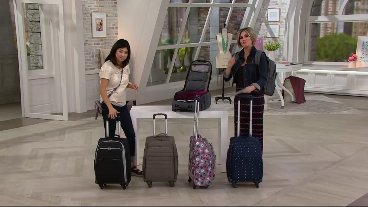 lug wheelie carry on with interior organization on qvc youtube