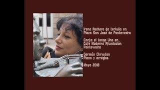 Irene Aschero de tertulia en Plaza San José, Pontevedra - Canta el tango Uno