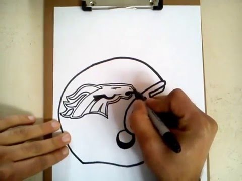 Como dibujar el casco de los broncos de Denver / how to draw helmet ...