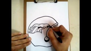 Como dibujar el casco de los broncos de Denver / how to draw helmet Denver Broncos