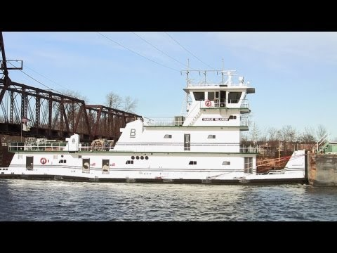 "The ""Charlie Melancon"" Towboat and Barge along the Illinois River on 12-4-2012"