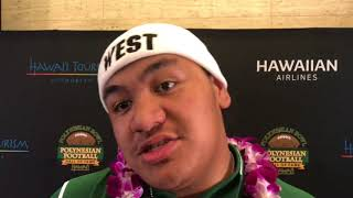 Big-Time OL Penei Sewell talks USC with Palaie Gaoteote at the Poly Bowl