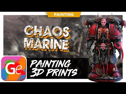 3D Printed and Painted Chaos Space Marine Figurine | by Gambody