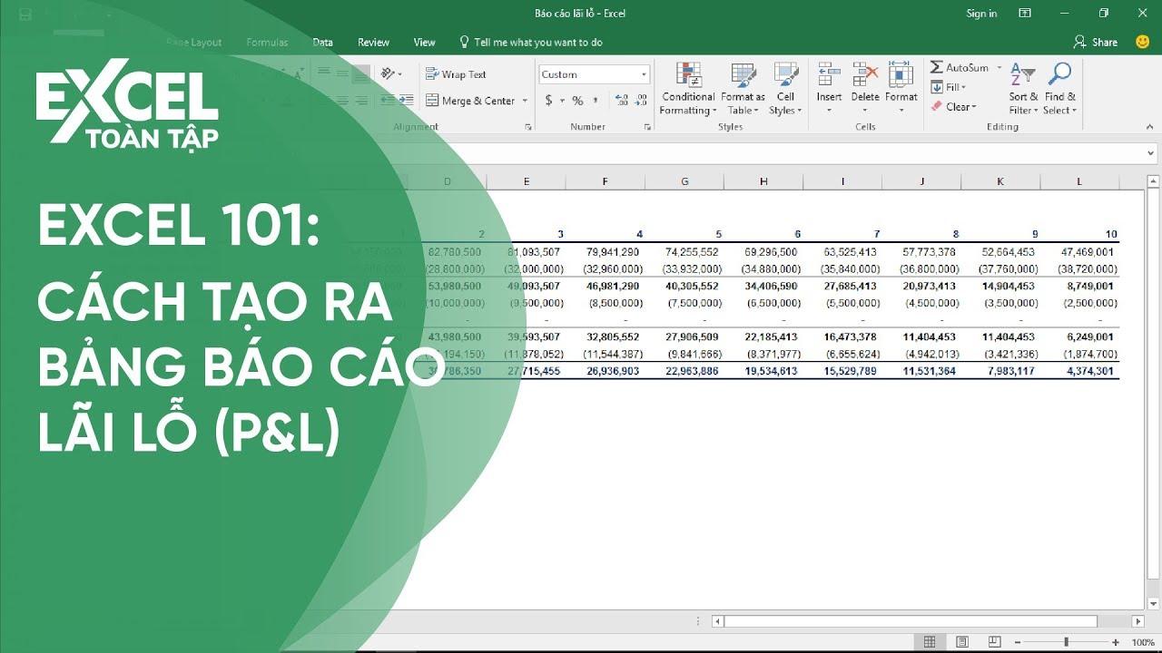 163. Cách tạo bảng báo cáo lãi lỗ (P&L) | Khóa học phần mềm văn phòng Excel