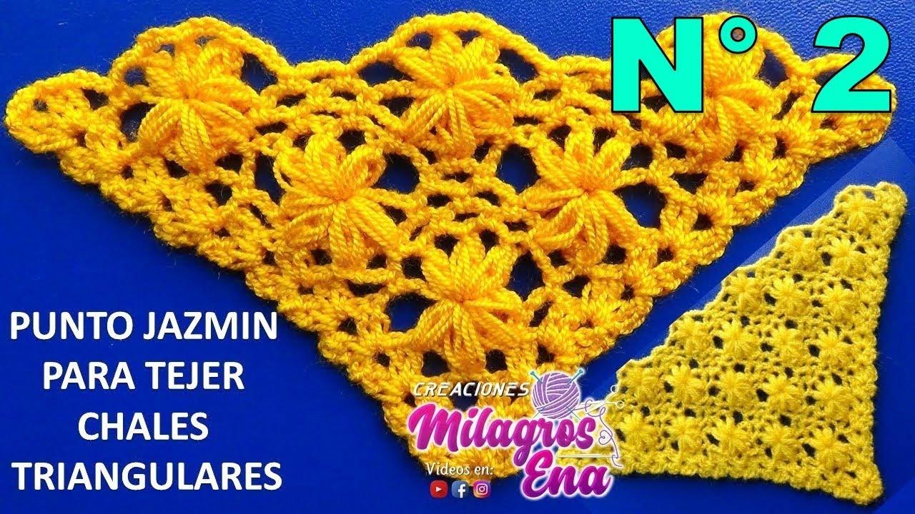 Chal triangular tejido a crochet paso a paso en punto jazmín - SHAWL ...