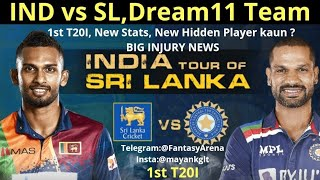 IND vs SL ये Stat जरूर देखना😲Big Injury News,1st T20I,Hidden Observation🤫 IndiavSriLanka Dream11Team