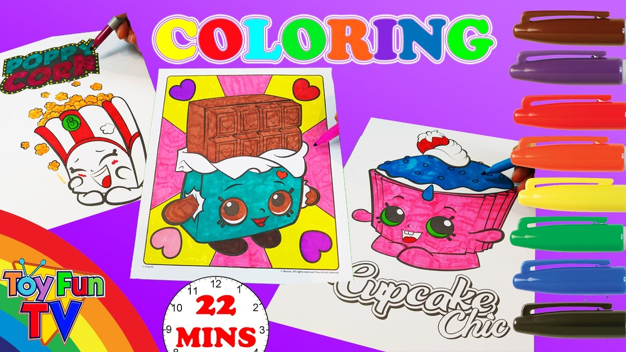 Where to buy shopkins coloring book - Shopkins Coloring Book Cheeky Chocolate Cupcake Chic Poppy Corn Coloring Page Toyfuntv