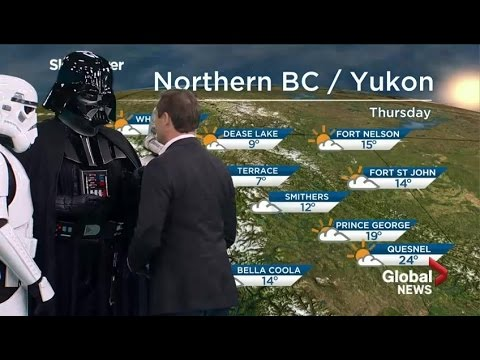 Darth Vader takes over live TV weather forecast on Star Wars Day