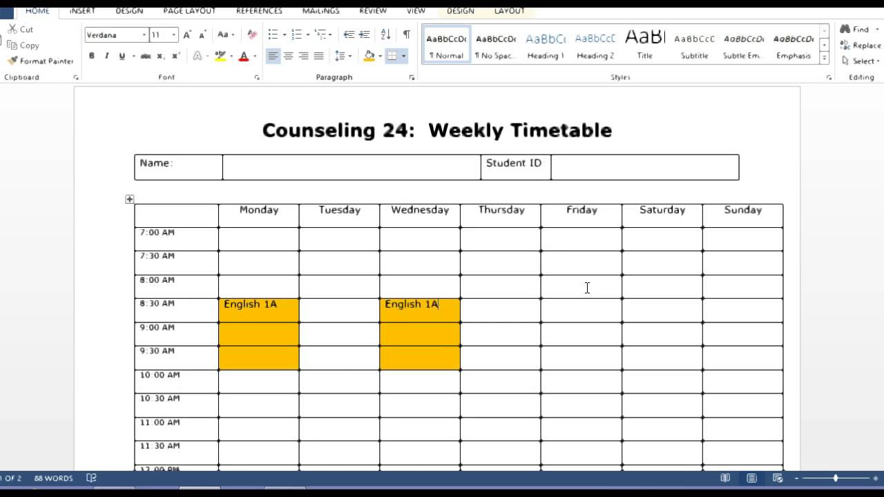 How to use the weekly timetable template - YouTube