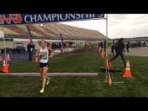Finish line view of the All-State finishers in 2017 Division 1 girls cross country championships