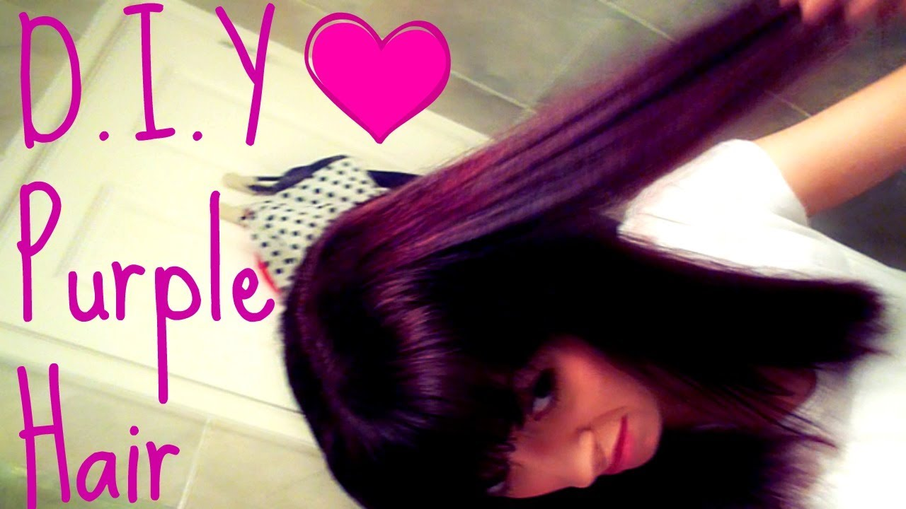 D I Y Purple Hair Brown To Purple Hair Tutorial Youtube