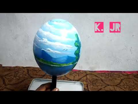 Acrylic painting on ostrich egg shell |landscape painting | by kartick jr😍😊| தமிழன்