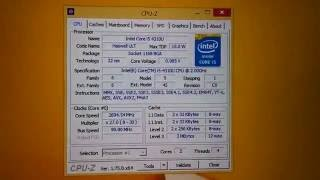 Intel i5 4310U, Socket 1168 BGA (CPU-Z), Built-in Graphics