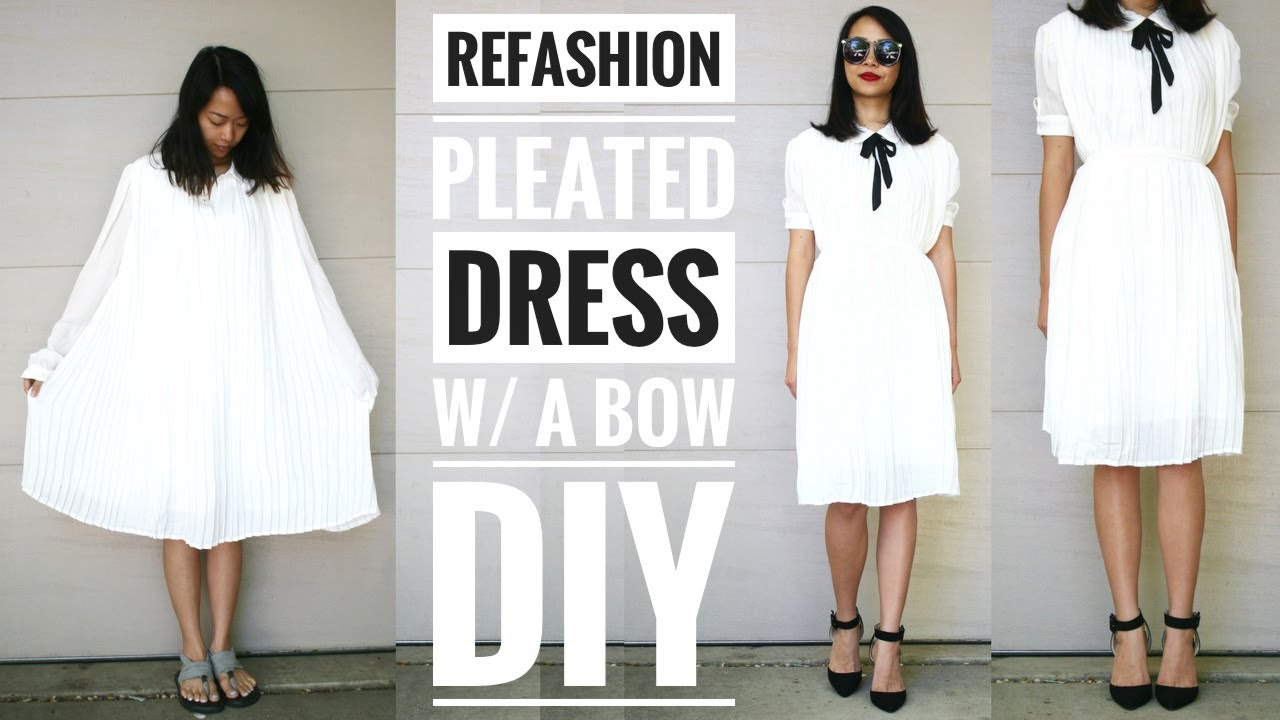 Diy pleated dress w a bow refashion how to upcycle old for How to take wedding photos