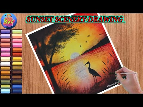 How To Draw Sunset Scenery Step By Step/ Sunset Scenery Drawing For Beginners/ Soft pastel Drawing.