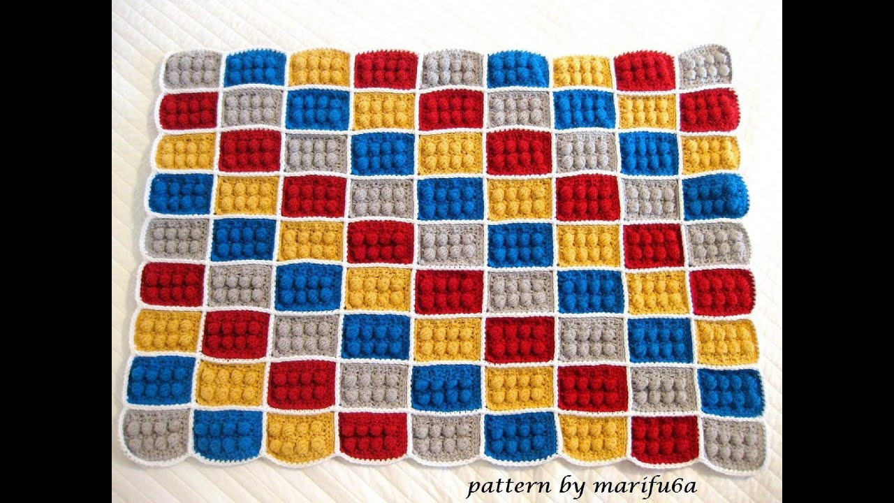 how to crochet lego blanket pattern by AndreaLBaker tutorial haga ...